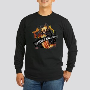 Ghost Rider Flames Long Sleeve Dark T-Shirt