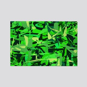 Abstract Retro Green and Blac Rectangle Magnet