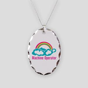 Cloud Rainbow Machine Operator Necklace Oval Charm
