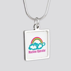 Cloud Rainbow Machine Oper Silver Square Necklace