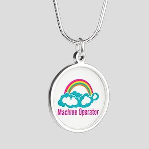 Cloud Rainbow Machine Operat Silver Round Necklace