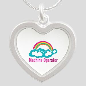 Cloud Rainbow Machine Operat Silver Heart Necklace