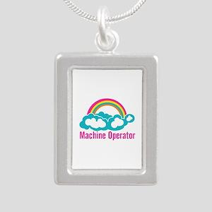 Cloud Rainbow Machine Op Silver Portrait Necklace