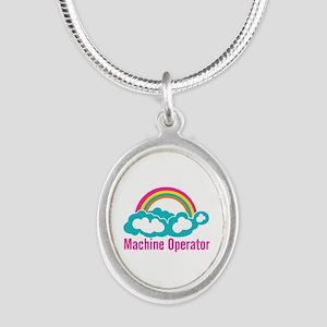 Cloud Rainbow Machine Operato Silver Oval Necklace