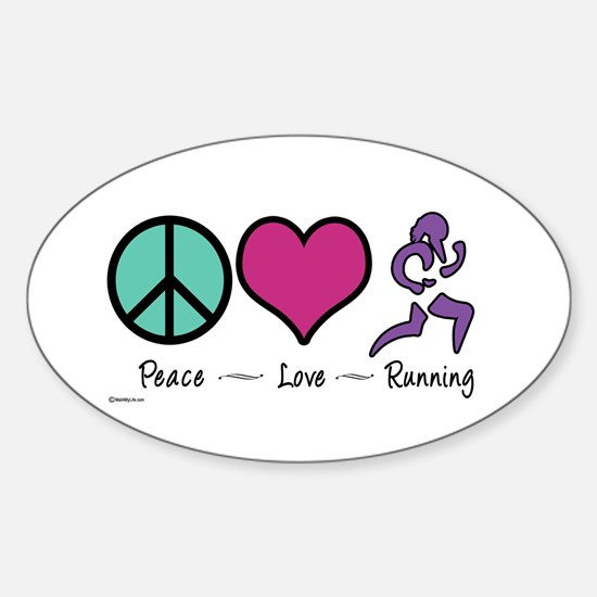 Peace- Love- Running Oval Decal