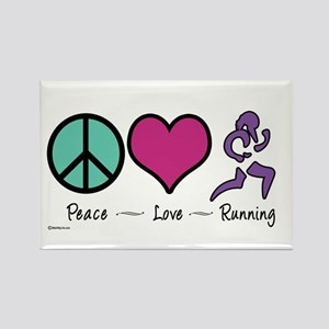 Peace- Love- Running Rectangle Magnet