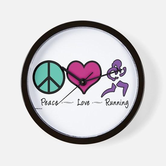 Peace- Love- Running Wall Clock