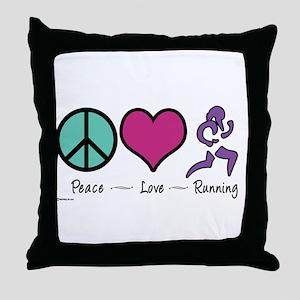 Peace- Love- Running Throw Pillow