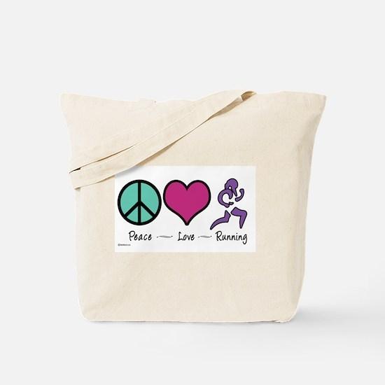 Peace- Love- Running Tote Bag