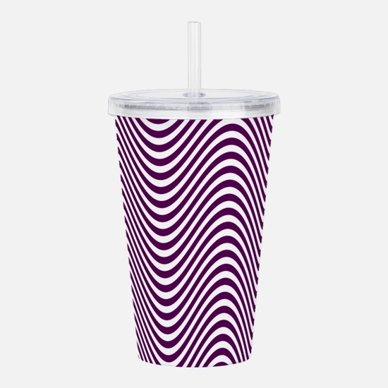Purple and White Optical Illusion Wave Pattern Acr