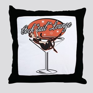 Retro Cocktail Lounge Pin Up Girl Throw Pillow