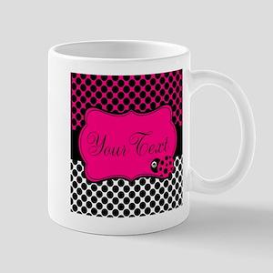 Personalizable Pink and Black Ladybug Mugs