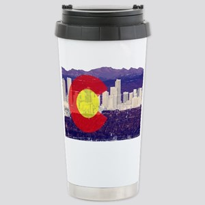 Denver Flag Skyline Stainless Steel Travel Mug