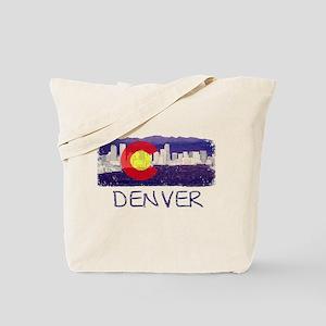 Denver Skyline Flag Tote Bag