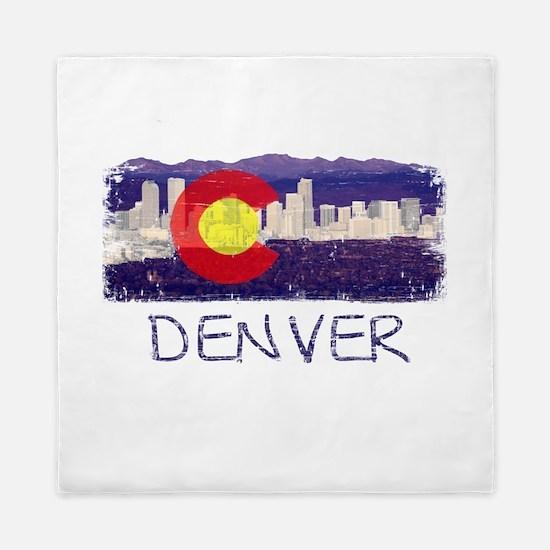 Denver Skyline Flag Queen Duvet