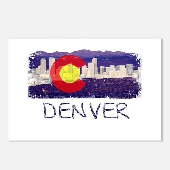 Denver Skyline Flag Postcards (Package of 8)
