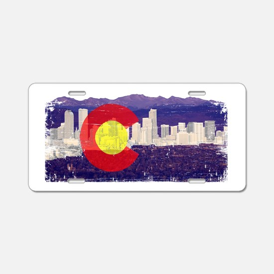Denver Skyline Flag Aluminum License Plate