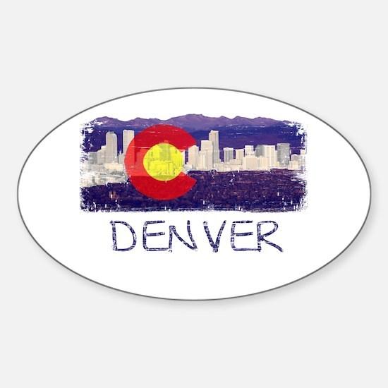 Denver Skyline Flag Sticker (Oval)