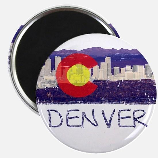 Denver Skyline Flag Magnet