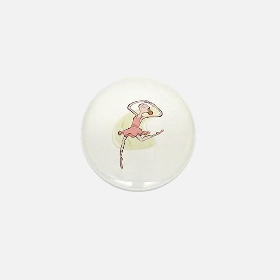 Retro Ballerina Girl Mini Button