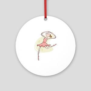 Retro Ballerina Girl Ornament (Round)
