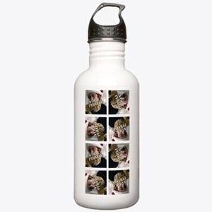 8 PHOTO Collage On White Water Bottle