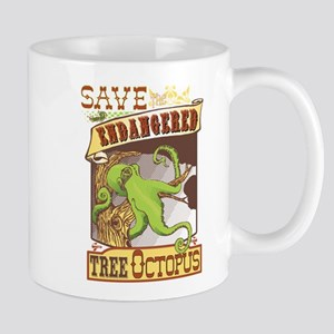 Vintage Tree Octopus Illustration Mugs