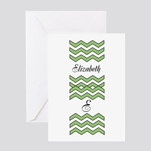 Customize Green Chevron Greeting Cards