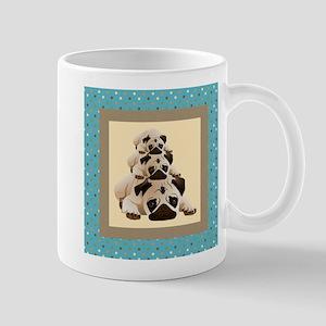 Sweet Pugs on Aqua Background Mug