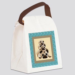 Sweet Pugs on Aqua Background Canvas Lunch Bag