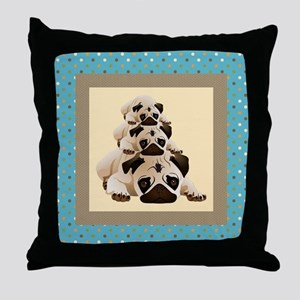 Sweet Pugs on Aqua Background Throw Pillow