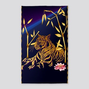 Gold Tiger And Pink Lilly 3'x5' Area Rug