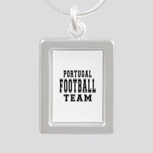 Portugal Football Team Silver Portrait Necklace
