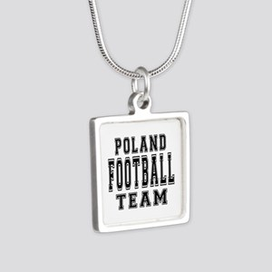 Poland Football Team Silver Square Necklace