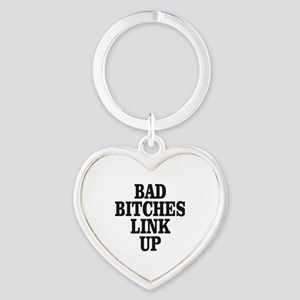Bad Bitches Link Up Heart Keychain