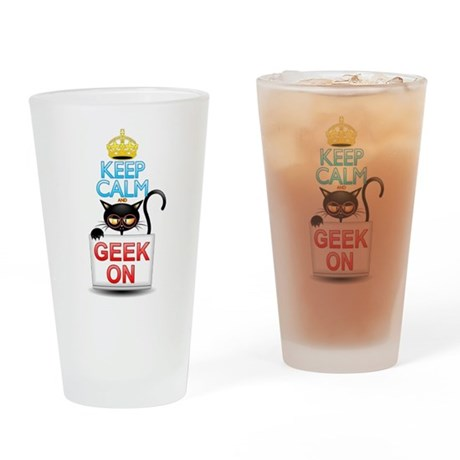 Keep Calm and Geek on! Cartoon Cat Drinking Glass