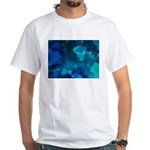 Brilliant Blues Fractal White T-Shirt