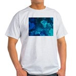 Brilliant Blues Fractal Ash Grey T-Shirt