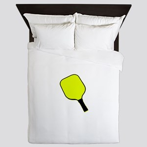 Yellow pickle ball pickleball paddle Queen Duvet