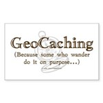GeoCaching Purpose Rectangle Sticker