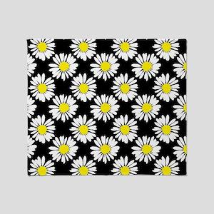Daisies - Black Throw Blanket