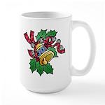 Christmas Art Holly and Bells Large Mug