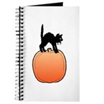 Halloween Art Pumpkin and Black Cat Journal