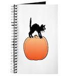 Halloween Art Pumpkin and Black Cat Journal