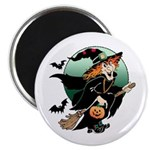 Halloween Art Witch on Broom Magnet
