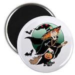 Halloween Art Witch on Broom Magnet