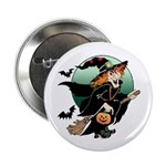 Halloween Art Witch on Broom Button