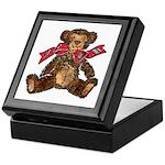 Whimsical Art Teddy Bear and Red Bow Keepsake Box
