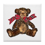 Whimsical Art Teddy Bear and Red Bow Tile Coaster