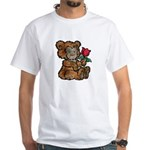 Whimsical Art Teddy Bear and Flower White T-Shirt